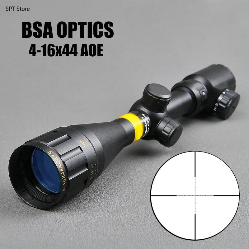 BSA OPTICS 4-16x44 AOE Tactical Optic Scope Green Red Illuminated Riflescope Hunting Rifle Scope Sniper Air Hunting