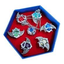 7 pçs/set katekyo hitman renascer vongola anime cosplay asa anéis moda jóias presentes das mulheres dos homens