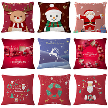 цены 45*45cm Christmas Cushion Cover Red Merry Christmas Printed Linen Decorative Pillows Sofa Home Decoration Pillowcase
