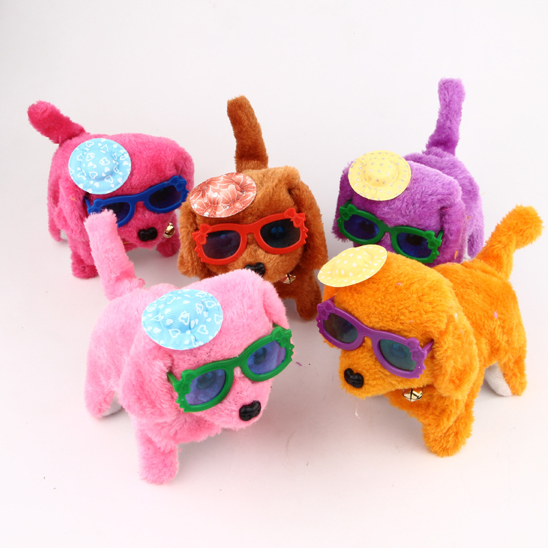 Electric Toys Forward Round Steak Dog Will Call Eyes Luminous Glasses Plush Dog Stall Hot Selling Supply Of Goods