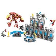 Super Heroes Iron Man Underground Laboratory Base Mark Armor  Marvel Avengers Infinity War Building Block Brick цены онлайн