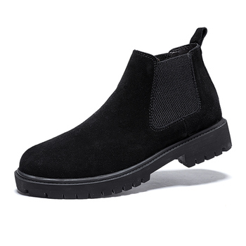 British style men's leisure breathable chelsea boots outdoors cow leather shoes slip on platform shoe ankle boot bota masculina