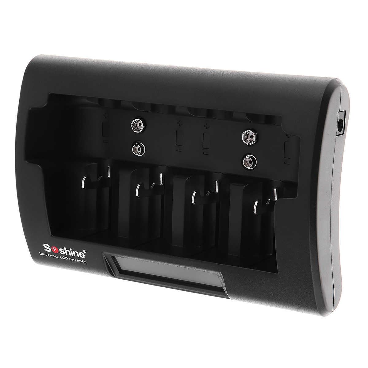 Soshine لوحة تحكم شاملة في التلفزيون الإل سي دي عرض شاحن بطارية 12-18 فولت تيار مستمر ل Ni-mh/Ni-Cd/AA/AAA/9 فولت/D البطارية مع الاتحاد الأوروبي/الولايات المتحدة التوصيل