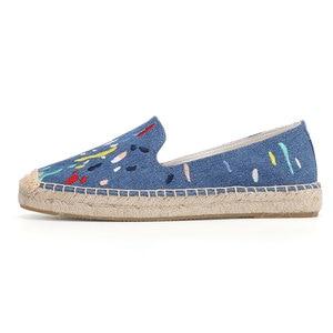 Image 5 - 2020 Denim Echte Nieuwe Schoenen 2019 Espadrilles Sapatos Zapatillas Mujer Platform Dame Slippers Voor Lente Flats Schoenen Mode