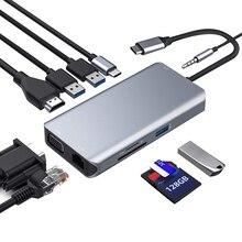 USB C концентратор, Тип C адаптер переменного тока, 10-в-1 ключ с Ethernet, 4K HDMI, VGA, 3 USB3.0, светодиодный дисплей, SD/TF Card Reader устройство чтения карт, Mic/аудио, USB-C PD 3,0, совместимость f