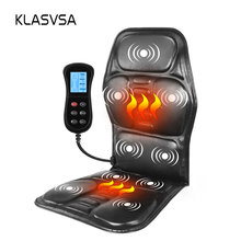 KLASVSA الكهربائية المحمولة التدفئة تهتز الظهر مدلك كرسي في Cussion سيارة المنزل مكتب قطني الرقبة فراش لتخفيف الآلام