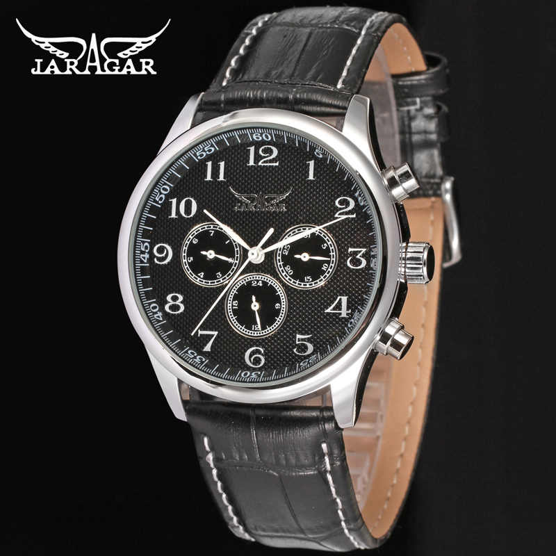 JARAGAR 自動機械式セルフ風腕時計メンズデイ日付腕時計メンズスポーツビジネスドレス腕時計高級時計男性ギフト