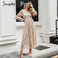 Simplee Sexy v neck evening women maxi dress Elegant mesh long sleeve sequin night dress autumn lady plus size party dress