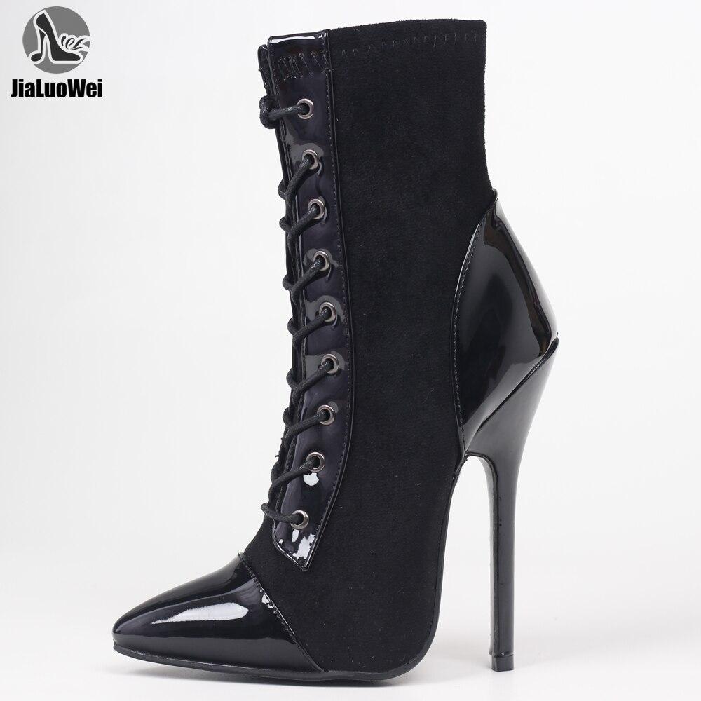 Jialuowei 14cm salto alto stiletto gótico laço-up gótico vitoriano tornozelo moda cores misturadas bota