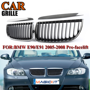 MagicKit Pair Gloss Chrome With Black Front Bumper Sport Kidney Grille Grill For BMW E90 E91 3Series Saloon 4D 2005-2008 Pre-LCI