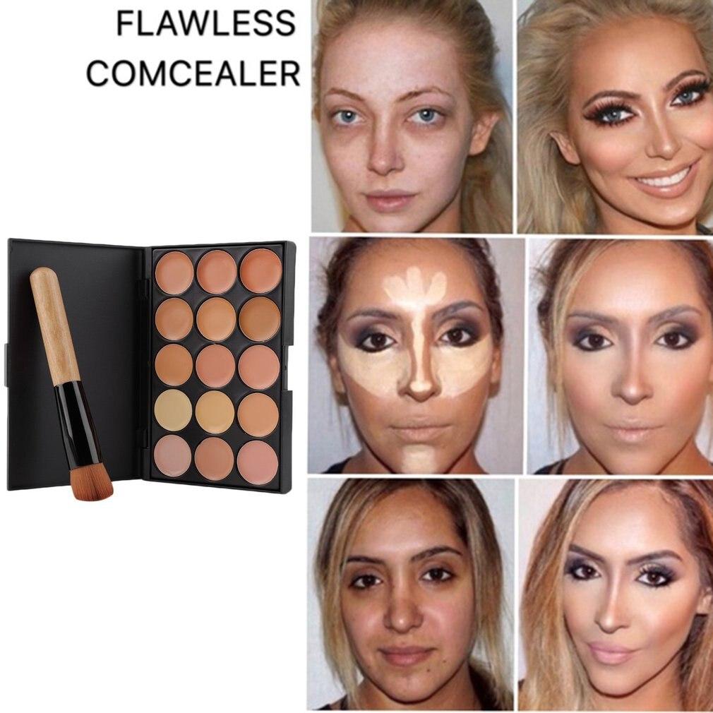 15 Colors Concealer Makeup Palette +Brushes Face Base Foundation Bronzer Concealer Contour Pallete Make Up Cosmetics Set