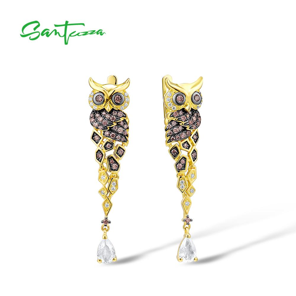 SANTUZZA Silver Earrings For Women 925 Sterling Silver Gold Color Sparkling Chocolate CZ Creative Owl Drop Earrings Fine Jewelry