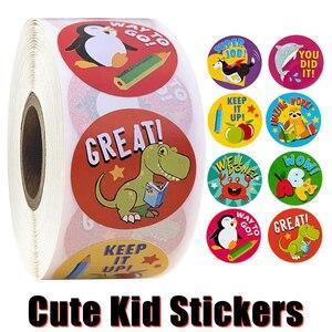 Image 1 - 500 szt. Naklejki dla dzieci rolka naklejek dla dzieci motywacyjne okrągłe naklejki z słodkie zwierzaki na powrót do szkoły