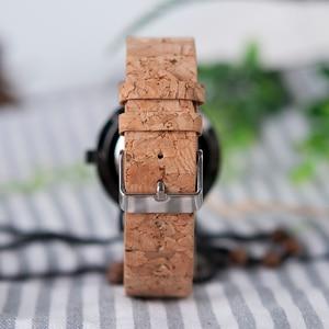 Image 5 - BOBO BIRD Stylish Wood Women Quartz Watch relogio feminin Stainless Steel Case With Cork Leather Band Thickness часы женские