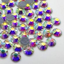 10 упак./лот качество прозрачный кристалл AB Hot Fix Стразы супер яркий Стекло Strass исправленное железо на Стразы для ткань для одежды