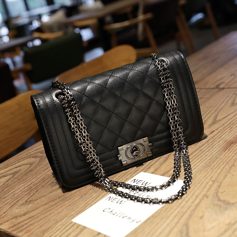 PU Leather Crossbody Bags Women 2020 New Fashion Diamond Lattice Solid Color Shoulder Messenger Bag Chain Handbags