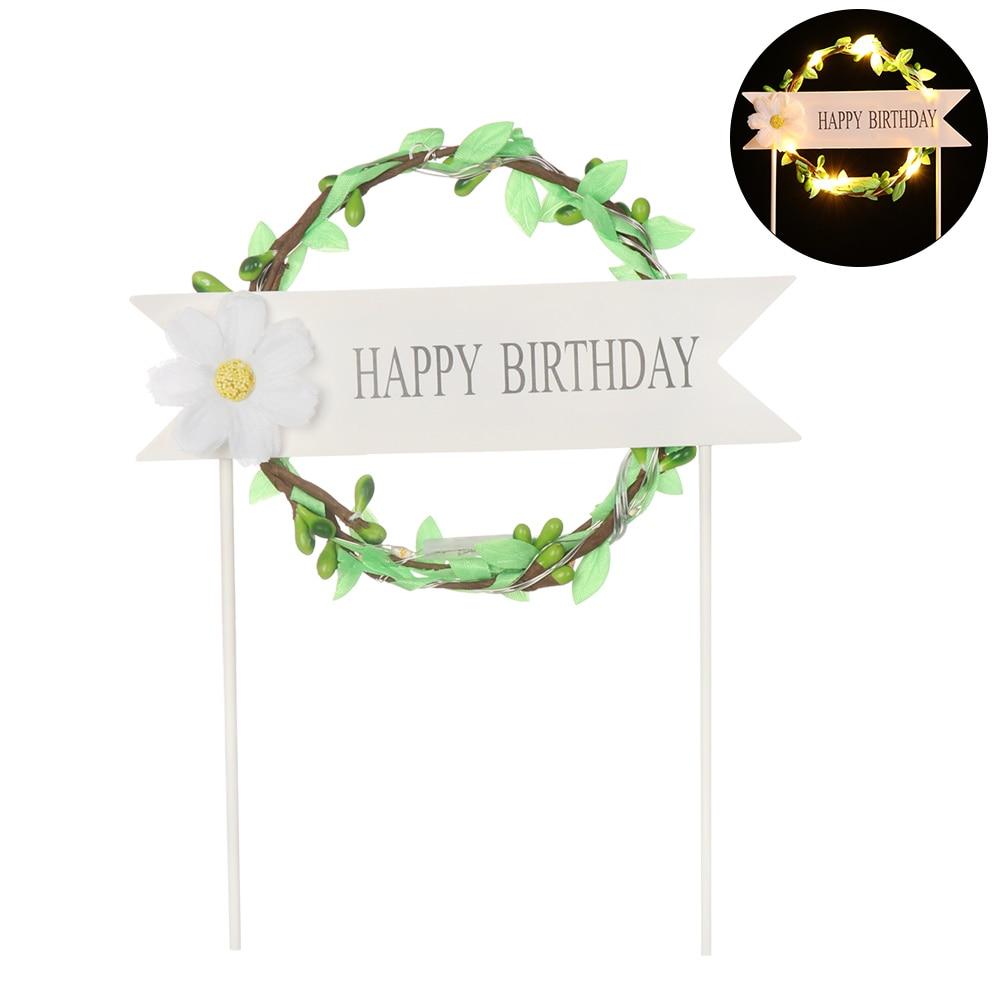 1 шт. светодиодный, светящийся, искусственная гирлянда, Топпер для торта на день рождения, подарок для торта, украшение, цветок маргаритки, топперы для торта, год - Цвет: green
