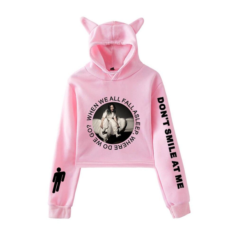 Kawaii Long Sleeve Sweatshirts Hoody Womens Vintage Leaves Crop Top Pullover Hoodie
