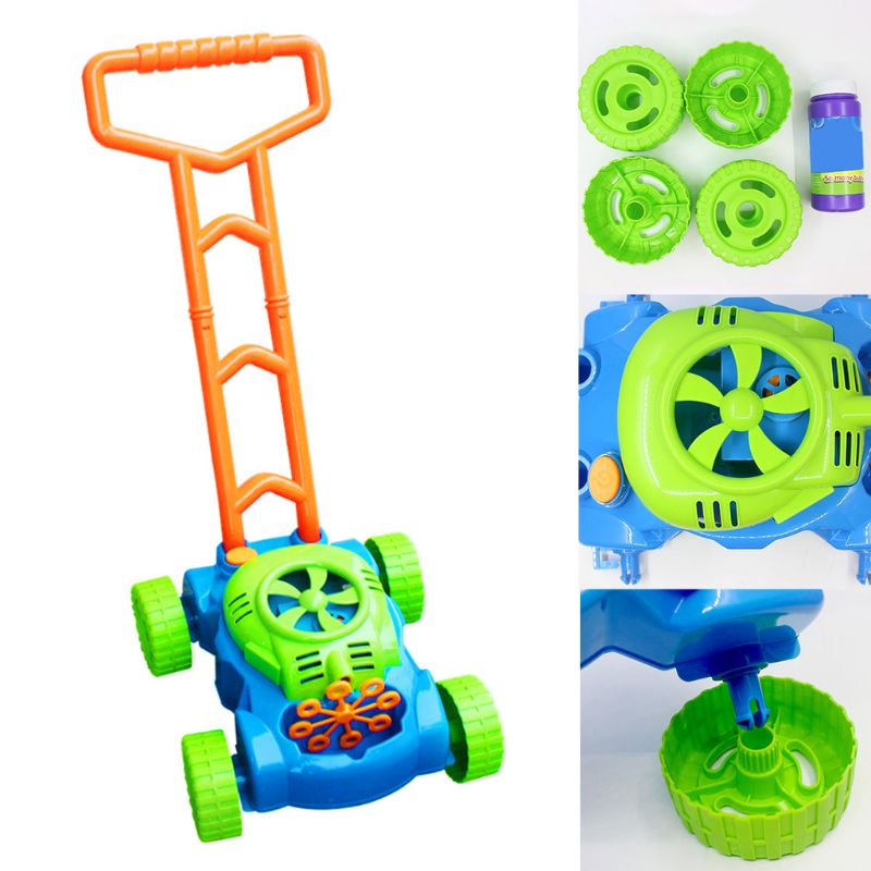 Automatic Music Trolley Blowing Bubble Machine Children Outdoor Game Push Toy 95AE