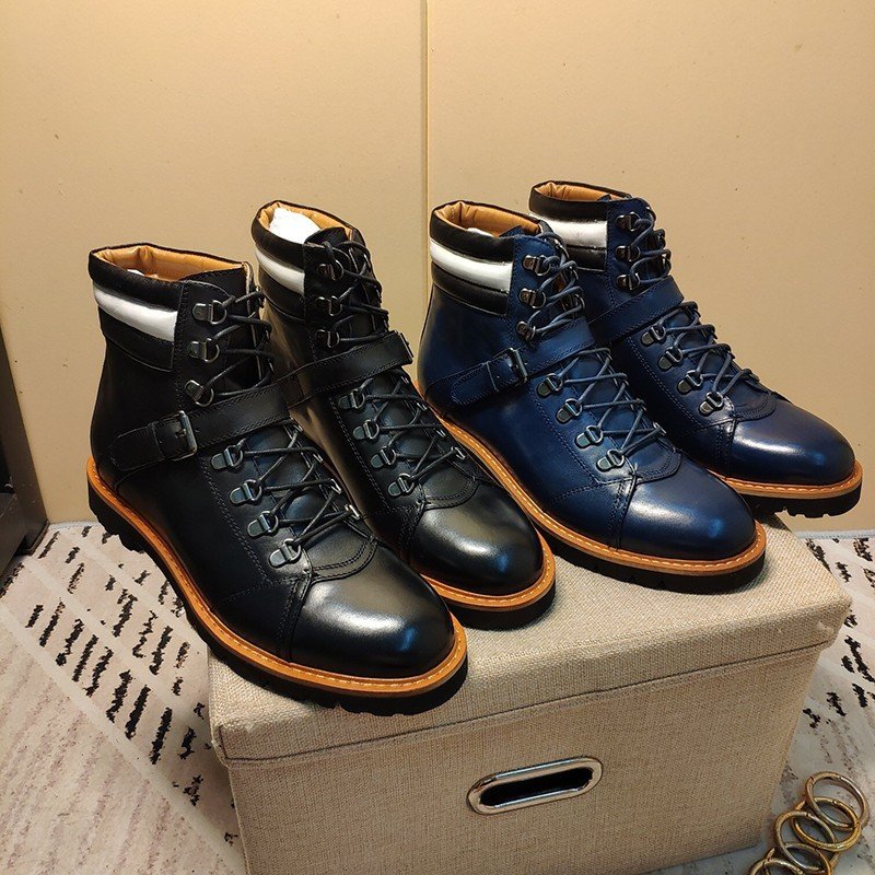 Autumn Winter Belt Buckle Thick Bottom Outdoor Hiking Shoes Genuine Leather Cowhide Round Toe Lace Up High Top Motorcycle Boots