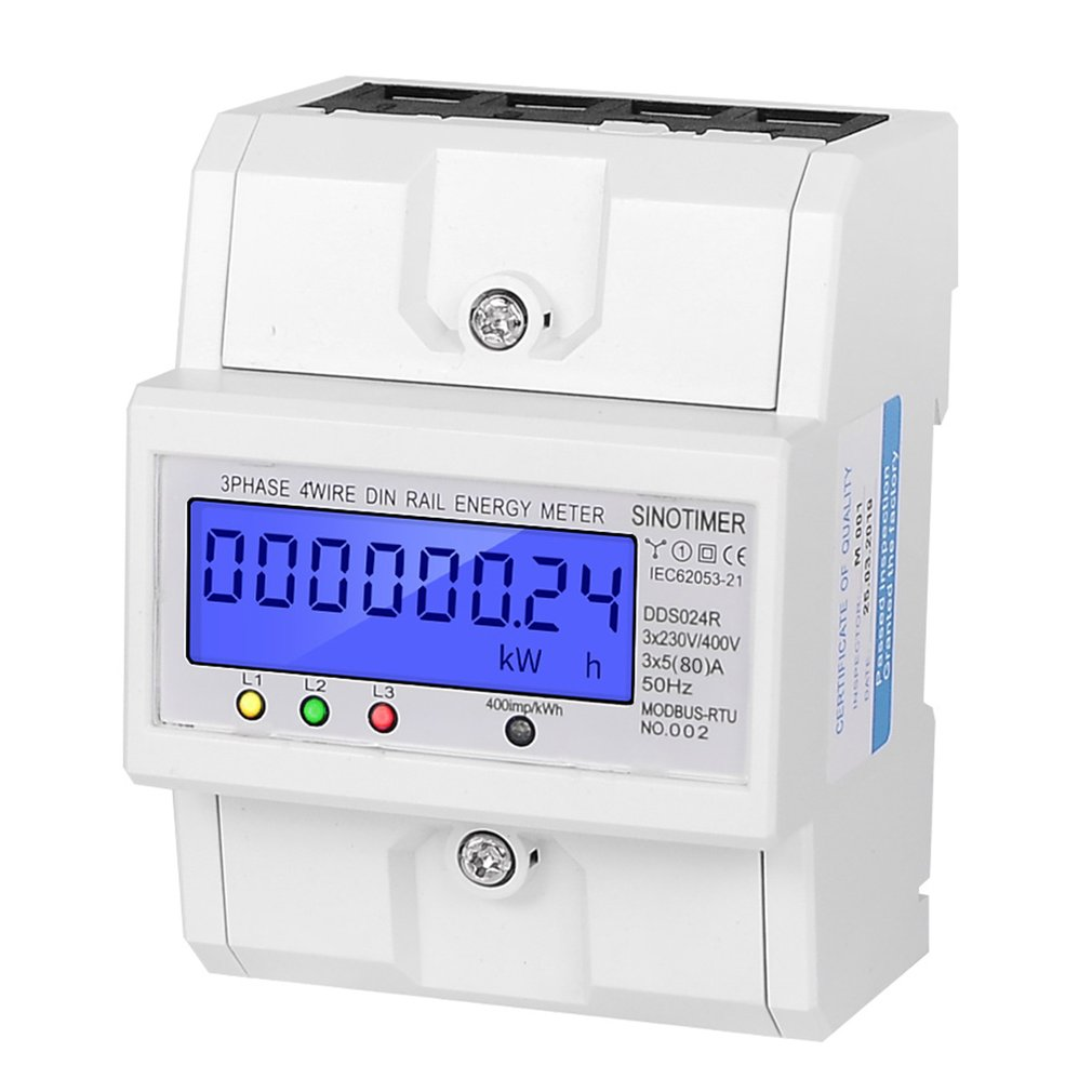 SINOTIMER DDS024R RS485 Modbus Rtu DIN Rail 3 Phase 4P Electronic Wattmeter Power Consumption Energy Meter with LCD Backlight Energy Meters     - title=