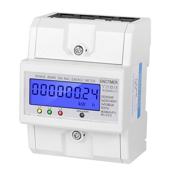 SINOTIMER DDS024R RS485 Modbus Rtu DIN Rail 3 Phase 4P Electronic Wattmeter Power Consumption Energy Meter with LCD Backlight