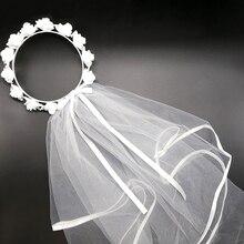 White Short Bridal Wedding Veil Bride To Be Wreath Bachelorette hen Party Bridal Shower marriage