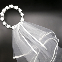 White Short Bridal Wedding Veil Bride To Be Wreath Bachelorette hen Party Bridal Shower marriage gift Decoration hair Accessorie fengrise white artificial rose bridal veil wedding decoration silk girl veil bachelorette party bride to be hen party decoration
