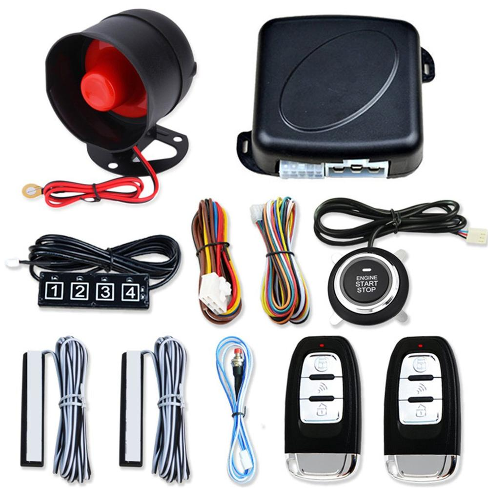 12V Keyless Entry Engine Start Alarm System Push Button Remote Starter Stop Auto Anti-theft Car Search System Kit image
