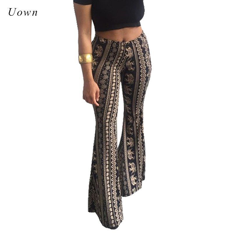 Boho Flare Pants Women Bohemian Fashion Loose Long Pant Tribal African Print Wide Leg Trousers Bell Bottom Leggings Hippie Pants