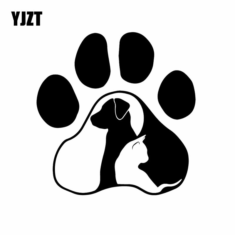 YJZT 14.7X15.1CM Dog Cat Love Animal Funny Cartoon Car Sticker Vinyl Decal Decor Pattern Black/Silver C24-1287