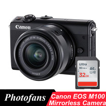 Canon Mirrorless Camera EOS M100 with 15-45mm Lens -wifi -video -Tilting Touchscreen (Brand New)