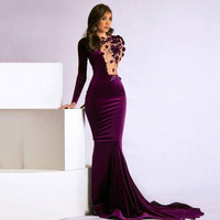 Thinyfull 2020 Luxury Velvet Evening Dresses Long Sleeves Mermaid Party Gowns 2020 Couture Flowers Beaded Illusion Prom Dresses