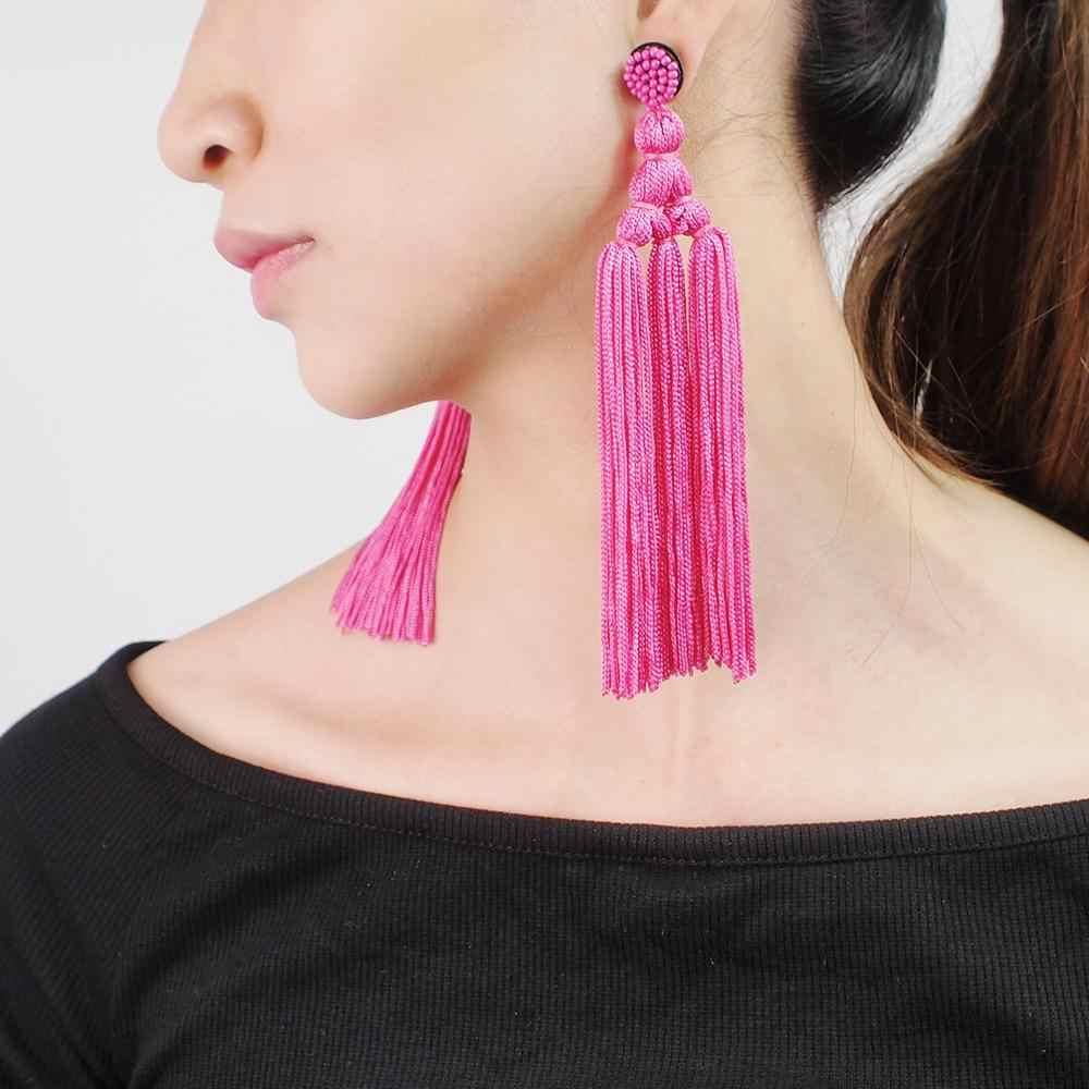 MANILAI artystyczna, bawełniana Tassel kolczyki biżuteria szeroki Fringe Drop długie kolczyki zwisające dla kobiet 2020 16 kolor