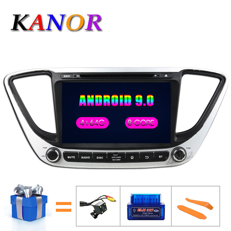 KANOR IPS Android 9.0 Octa Core 2din Car Radio For <font><b>Hyundai</b></font> Solaris Verna 2017 Navigation Radio Audio Video Player <font><b>GPS</b></font> Multimedia image