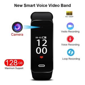 Профессиональный Новый 1080P HD видео камера, звук, диктофон, камера, Smartband, смарт-браслет, часы, браслет