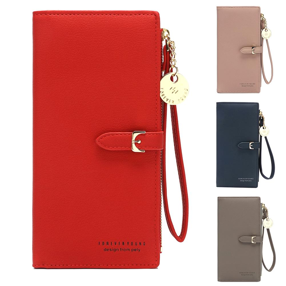 2019 Fashion Womens Wallets Solid Color Wristlet Long Wallet Purse Faux Leather Zip Phone Card Holder Leather Money Bag