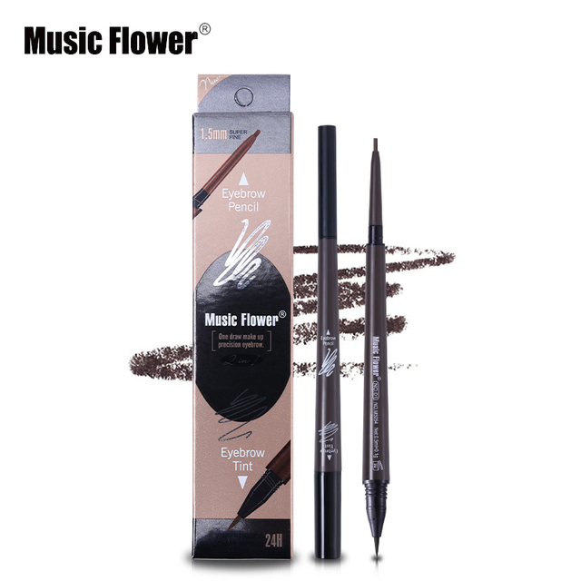 Music Flower Brand Cosmetic Eyes Makeup Matte Natural Double Head Eyebrow Pencil +Eyebrows Tint Liquid Waterpoof Long-lasting 3