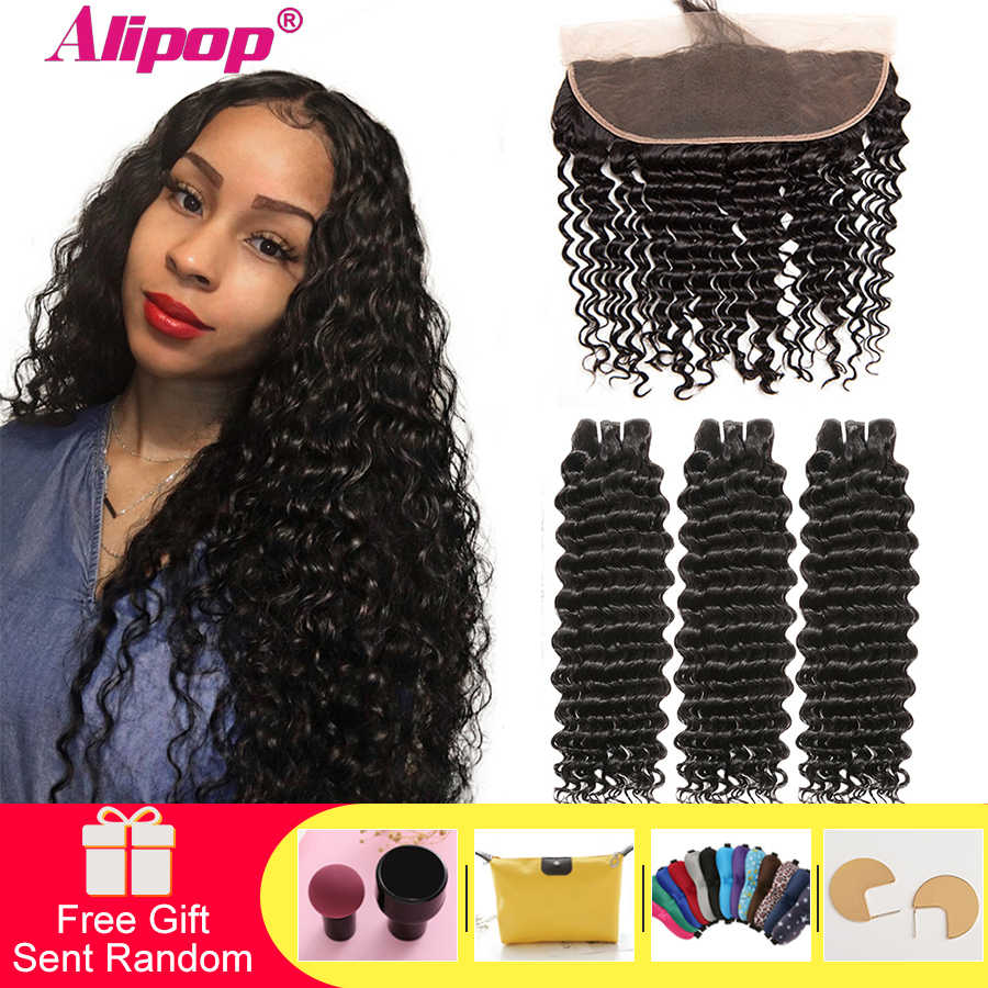Alipop Deep Wave Bundles With Frontal 13x4 Lace Frontal With Brazilian Hair Weave Bundles Remy Human Hair Bundles With Frontal