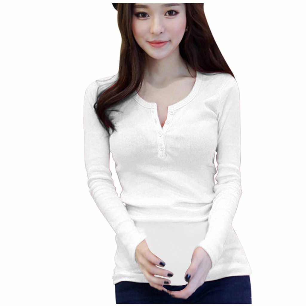 T-shirt Frauen Koreanische Version Lose Taste Lange Hülse O-ansatz Bodenbildung Casual Tops Poleras Camiseta Top Frauen Harajuku T Hemd