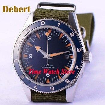 41mm Debert Miyota Blue sterile dial super luminous orange marks Sapphire Glass nylon strap Automatic men's watch DE86