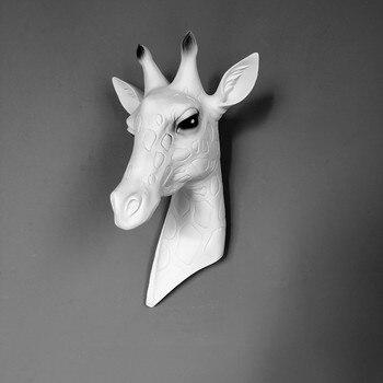 36cm Nordic Retro żyrafa głowy statua zwierząt dekoracje ścienne żywicy sztuka i rzemiosło ścienne wiszące rzeźby dekoracje domu R2381