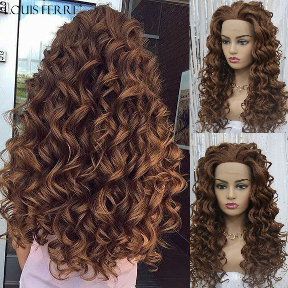 LOUIS FERRE Long Brown Honey Red Wigs For Black Women Afro Natural Synthetic Curly Wigs Cosplay Hair Lace Front High Density Wig