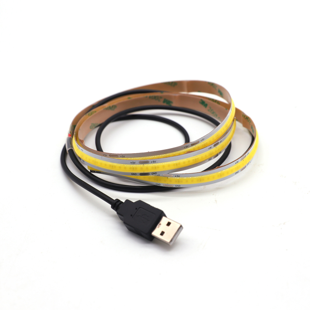 ZZEL ZYEL DC5V USB COB LED FLEXIBLE STRIP LIGHT FOR TV Background With USB Wires Cable  And Human Body Sense Battery Box