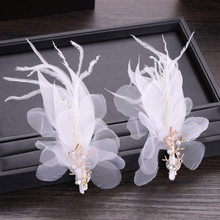 Joyería de pelo de boda de estilo chino para mujer, pluma de seda con diseño de flor para cabello, Clips, pasador de pelo de flor nupcial, accesorios para tocado XH