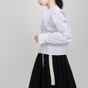 Image 3 - [Eam] 女性白プリーツスプリットジョイント気質ブラウス新ラペル長袖ルーズフィットシャツファッション春秋2020 1M942