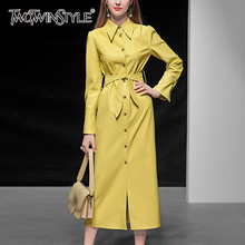 TWOTWINSTYLE PU Leather Female Coats Lapel Collar Long Sleeve High Waist Lace Up Elegant Coat For Women 2019 Autumn Fashion New