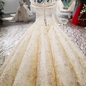 Image 3 - LS12580 Luxury champagne bridal dresses crystals shoulder bridal dress big puffy skirt long train wedding dress real photos 2018