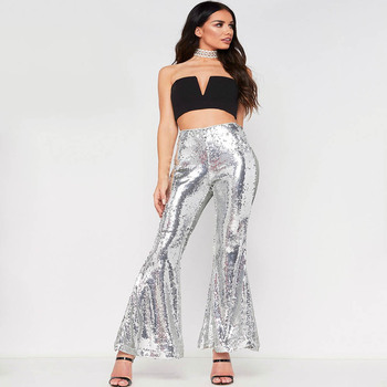 Trousers Women Autumn Sexy Flare Sequin Reflective Long Pants Party Night Club Hippie Black Pantalon Streetwear Moda Mujer 2019 цена 2017