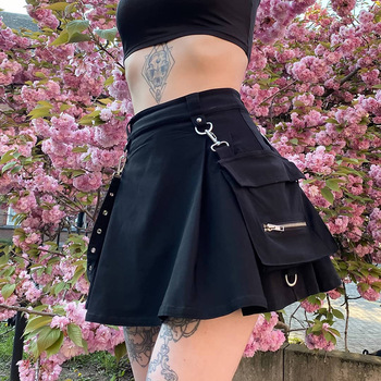 NCLAGEN bf Cool Lady Punk Gilrs Pleated Women High Waist Mini Skirt With Pocket Bag Belt Chain Gothic Black Skirts For Women